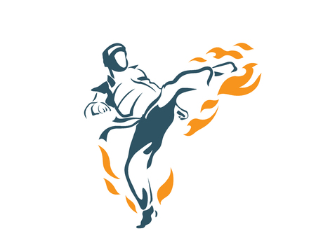 Aggressive Taekwondo Martial Art In Action Logo - Deadly Flying Front Kick Flame