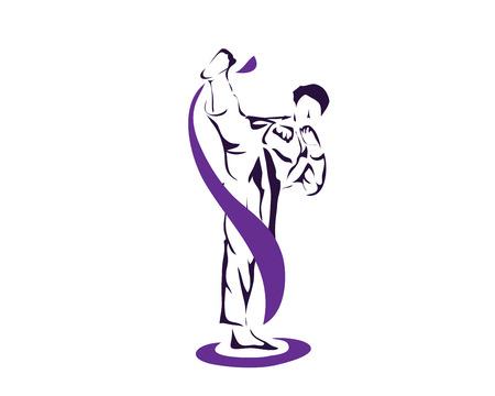 액션 로고에서 적극적인 태권도 무술 - 전문 운동 선수 온난화 최대 포즈