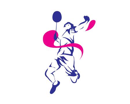 Nowoczesne Namiętny Badminton gracza W Akcji Logo - Passionate Wygrana Moment Smash Logo