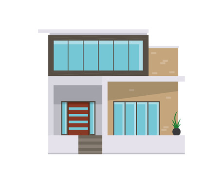 upmarket: Modern Flat Luxury Minimalistic Residential House, Suitable for Diagrams, Infographics, Illustration, And Other Graphic Related Assets