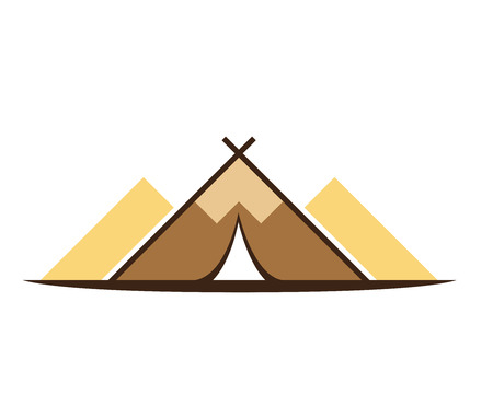 Modern Outdoor Adventure Logo - Camping Tent Forming A Mountain Silhouette