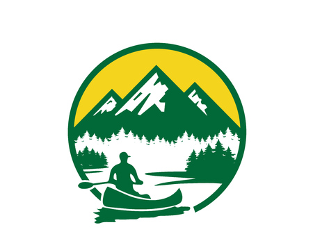 Modern Outdoor Adventure Logo - Beautiful Riverside Kayaking View Ilustração