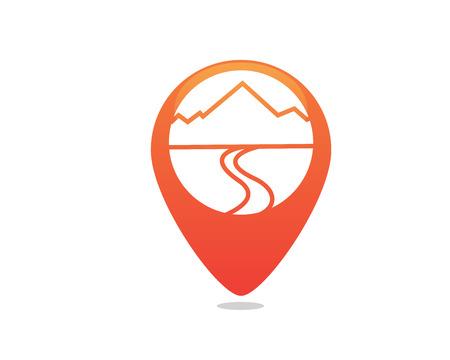 현대 야외 모험 로고 - GPS 위치 화살표 그래프 통계로 형성된 산 게재