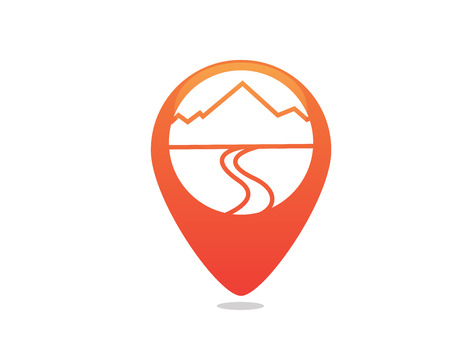 Modern Outdoor Adventure Logo - GPS Location Arrow Showing A Mountain Formed By Graph Statistic