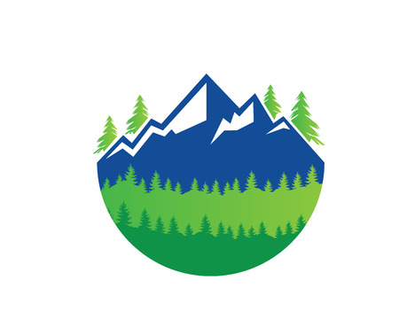 현대 야외 모험 로고 - 녹색 신선한 산보기 일러스트