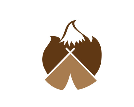Modern Outdoor Adventure Logo - Flaming Camping Bonfire Forming A Mountain Silhouette Stock Illustratie