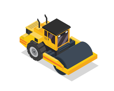 construction vehicle: Modern Isometric Construction Vehicle Illustration - Road Roller