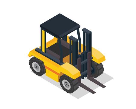 Modern Isometric Construction Vehicle Illustration - Forklift 向量圖像