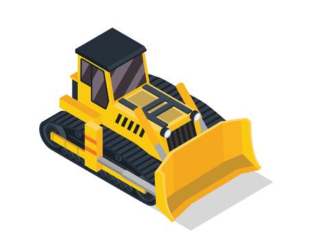 Modern Isometric Construction Vehicle Illustration - Bulldozer