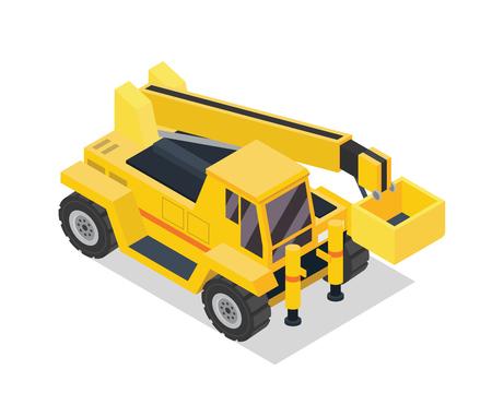 현대 아이소 메트릭 건설 차량 일러스트 - 크레인 리프트 트럭 일러스트