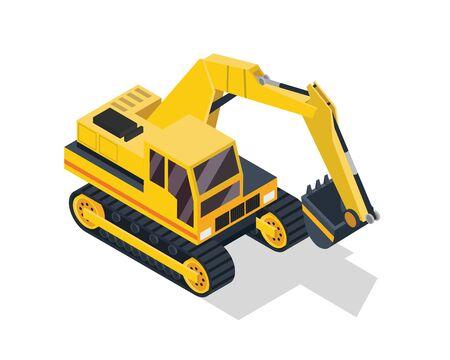 Modern Isometric Construction Vehicle Illustration - Excavator