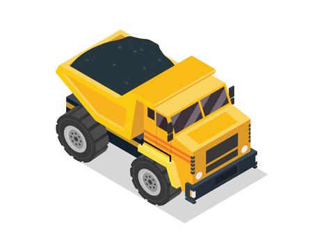construction vehicle: Modern Isometric Construction Vehicle Illustration - Dump Truck