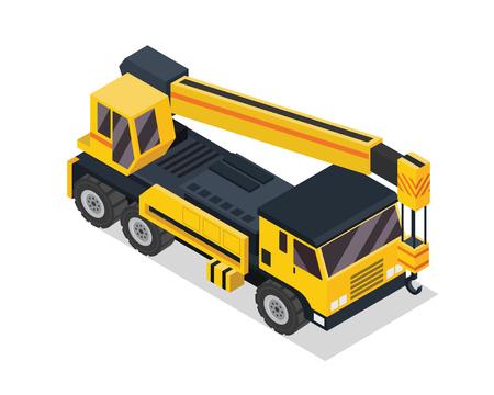 현대 아이소 메트릭 건설 차량 일러스트 - 크레인 트럭