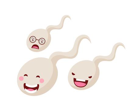 Gesunde glückliche und nette menschliche Anatomie-Illustrations-Karikatur - wettbewerbsfähiges Samenzellen-Rennen
