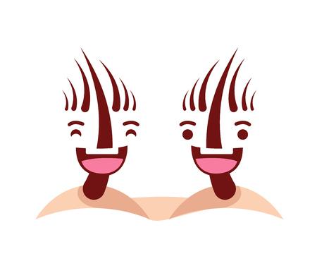 건강 해피 하 고 귀여운 인간의 해부학 일러스트 만화 - 해피 건강 한 머리카락