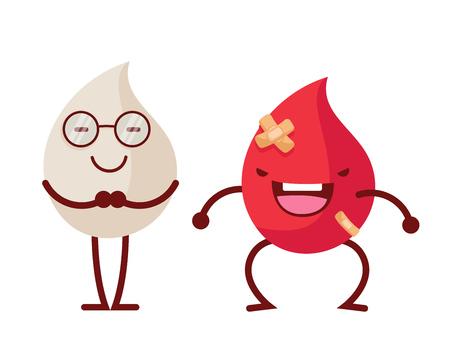 건강 해피 하 고 귀여운 인간의 해부학 그림 만화 - 붉은 피와 흰색 혈액 면역 시스템