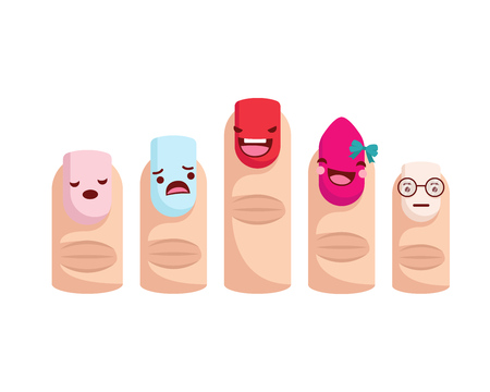 Healthy Happy And Cute Human Anatomy Illustration Cartoon - Happy Nail Art Family