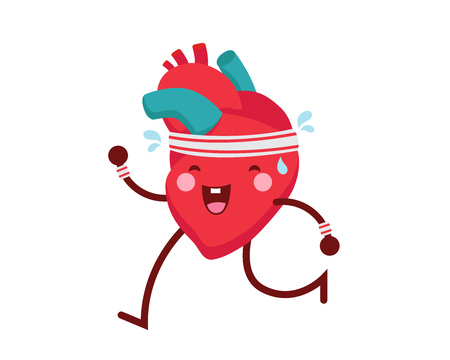 Healthy Happy And Cute Human Anatomy Illustration Cartoon - Healthy Exercise Heart