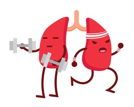 건강 해피 하 고 귀여운 인간의 해부학 일러스트 만화 - 건강 한 폐 일러스트