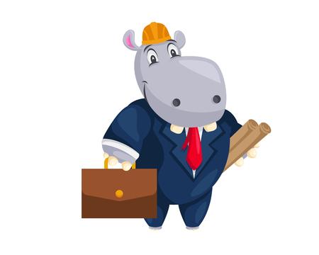 Cute Animal Illustration - Hippo Building Architect 向量圖像