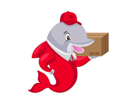 Cute Animal Illustration - Dolphin Delivery Courier Stock Illustratie