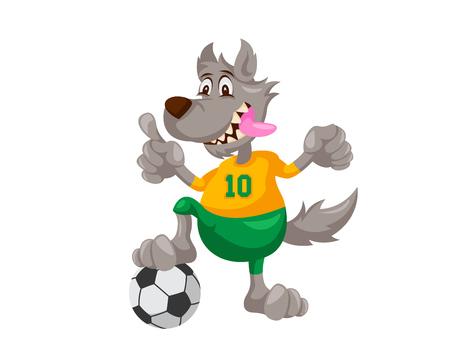 귀여운 동물 일러스트 - 늑대 축구 코치