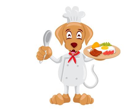 귀여운 동물 일러스트 - 개 요리사
