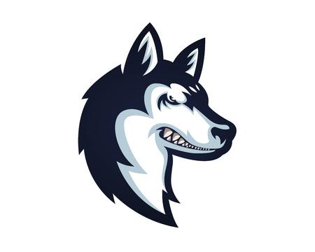 怒っている自信を持って犬文字ロゴ - シベリアン ハスキー  イラスト・ベクター素材