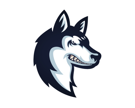 Angry Confidence Dog Character Logo - Siberian Husky Stock Illustratie