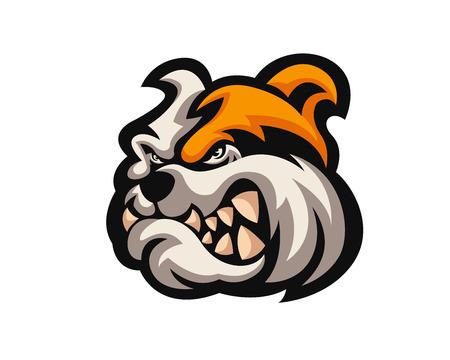 Angry Confidence Dog 캐릭터 로고 - 불독 일러스트