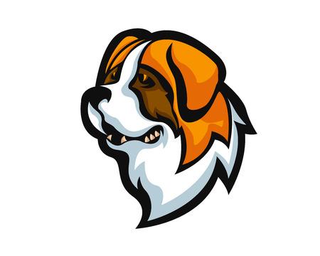 Angry Confidence Dog Character Logo - Saint Bernard