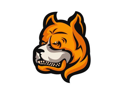 Angry Confidence Dog Character Logo - Pitbull