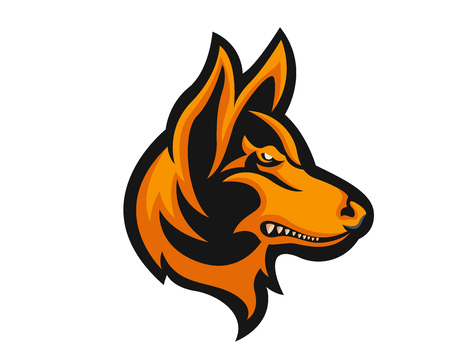 dog: Angry Confidence Dog Character Logo - German Shepherd Illustration