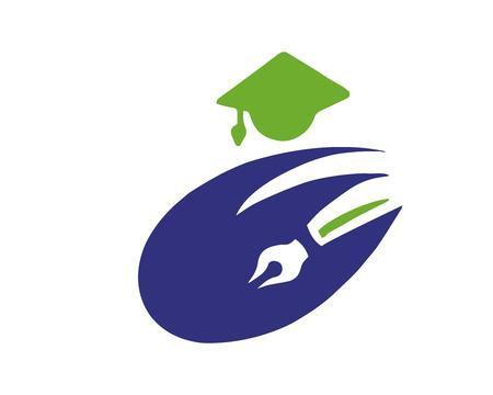 현대 교육 로고 - 창조적 인 교육 상징 일러스트