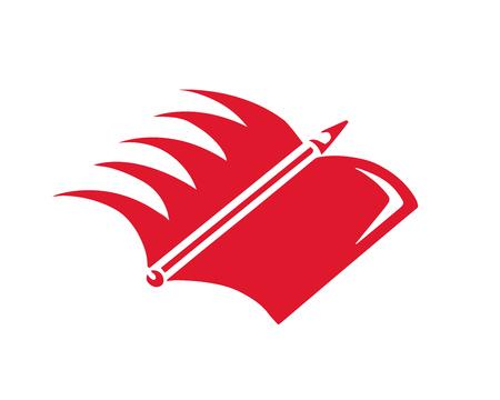 현대 교육 로고 - 도서 및 윙 기호