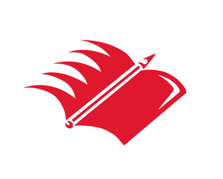 online degree: Modern Education Logo - Book And Wing Symbol