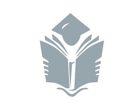 Modern Education Logo - Premium Silver Education Symbol 向量圖像