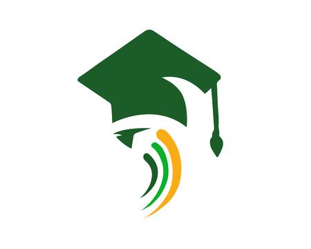 현대 교육 로고 - 녹색 지식 교육 과정 일러스트