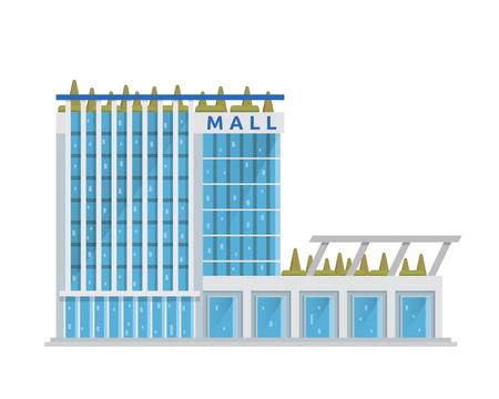 다이어그램, 인포 그래픽, 게임 및 기타 그래픽 관련 자산에 적합한 현대 플랫 쇼핑몰 일러스트레이션