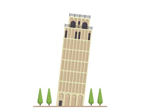 현대 평면 유명한 건물 - 피사 타워 일러스트