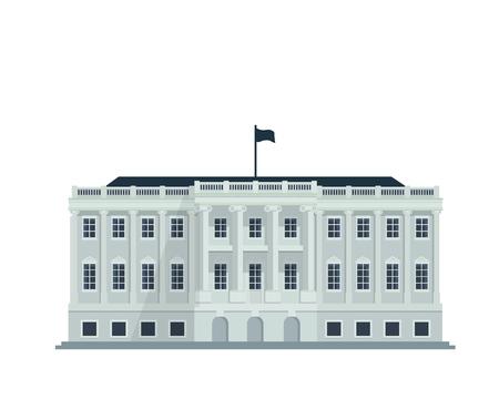 현대 평면 유명한 건물 - 미국 백악관 건물 일러스트