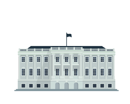 Modern Flat Famous Building - United States White House Building Stock Illustratie