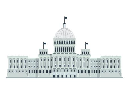 현대 평면 유명한 건물 - 워싱턴 DC 국회 의사당 건물 일러스트