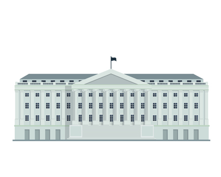 Modern Flat Famous Building - Washington Department Of Treasury Building Stock Illustratie