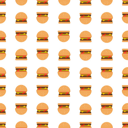 Seamless Repeatable Food And Beverages Pattern - Hamburger Stock Illustratie