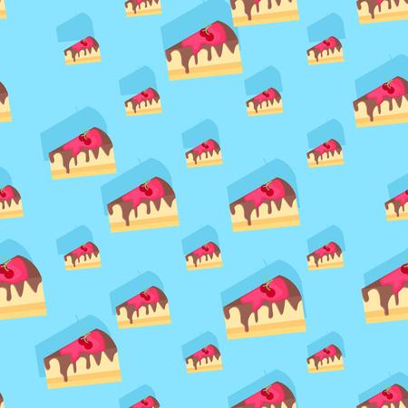 원활한 반복 가능한 음식과 음료 패턴 - 딸기 크림 티라미수 케이크 일러스트