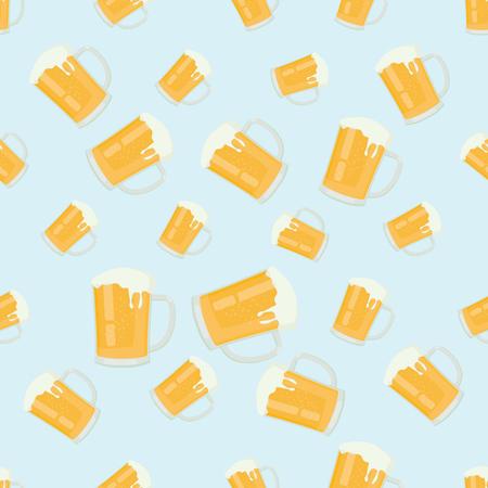 원활한 반복 가능한 음식과 음료 패턴 - 맥주 일러스트
