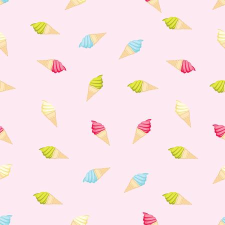 원활한 반복 가능한 식품과 음료 패턴 - 다채로운 아이스크림 일러스트