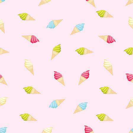 Seamless Repeatable Food And Beverages Pattern - Colorful Ice Cream
