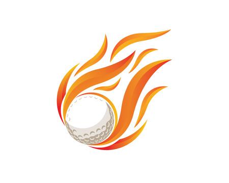 현대 골프 로고 - 불타는 골프 공